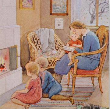 elsa_beskow-reading-in-fron-of-the-fireplace